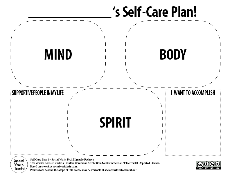 Worksheets Self Care Worksheets making a self care plan for you and your clients social work tech downloads