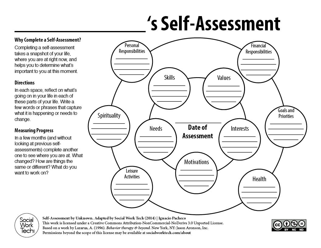 Worksheets Self Awareness Worksheets a self assessment tool for clients and social work professionals downloadables