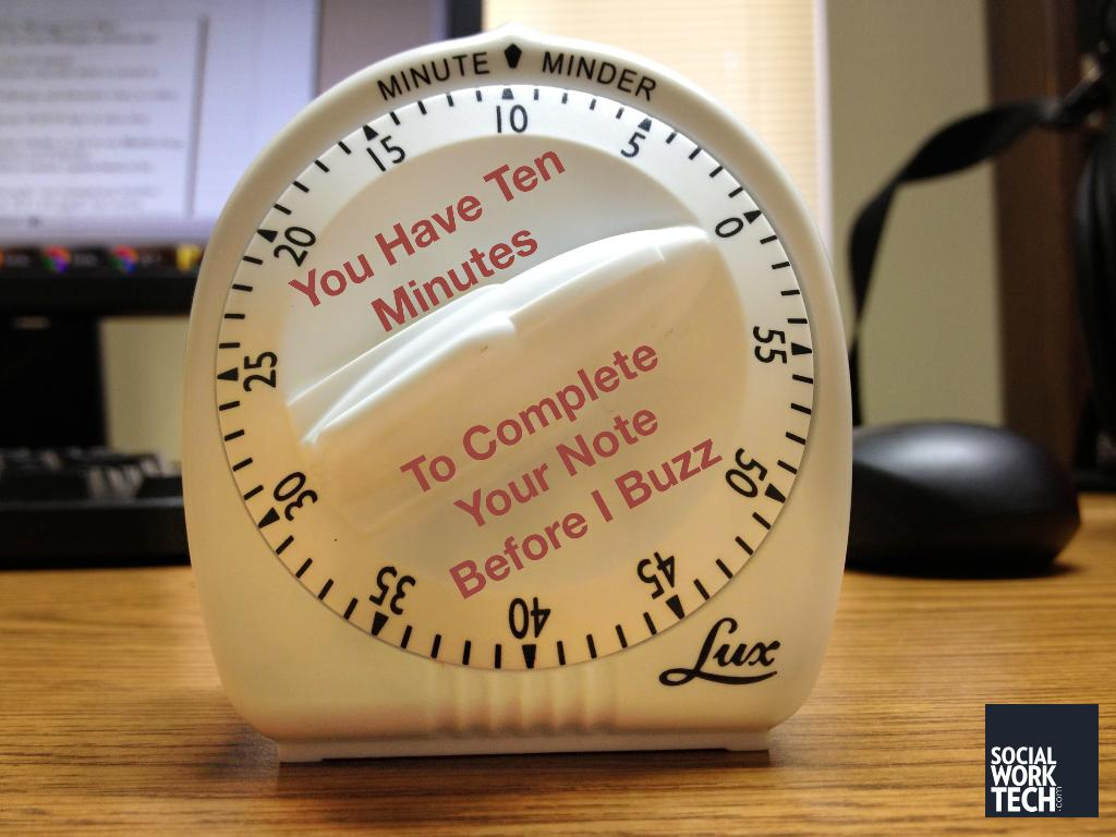 "Egg timer with text saying: ""You have 10 minutes to complete your note before I buzz"""
