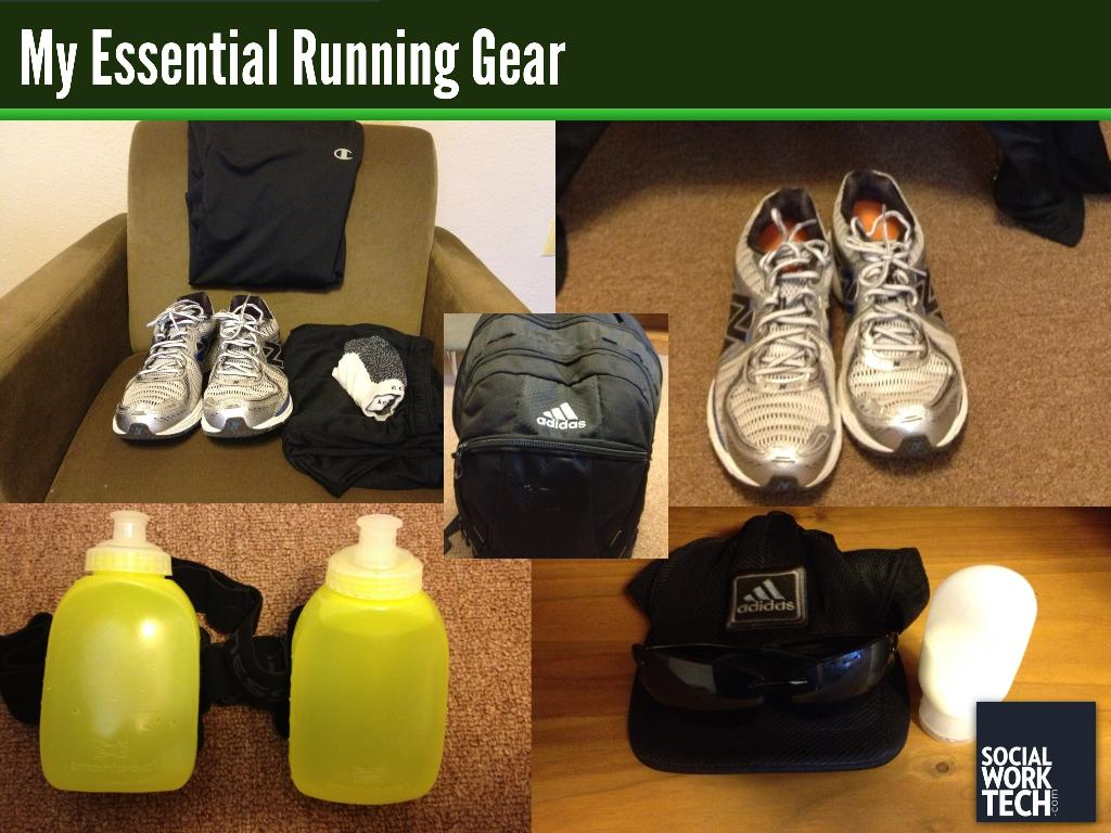 Picture of my running gear (listed below)