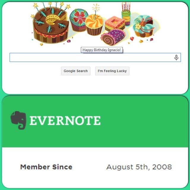 Celebrating my birthday in a geek-loving fashion. Also, it's my #evernote/versary!