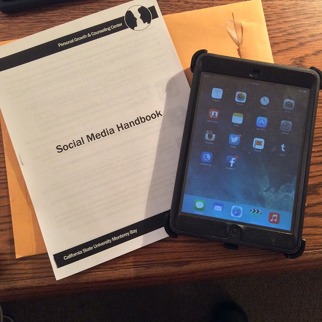 As I am wrapping up duties at my current gig, I'm leaving behind an iPad with all the social media set up and a manual. #SocialWork #CSUMB