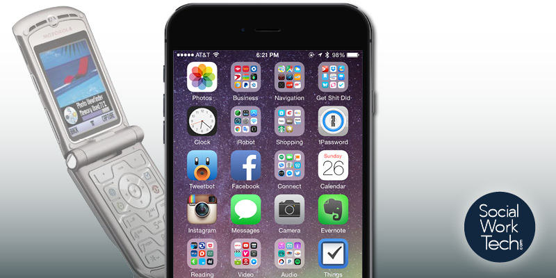 Picture of an old Motorola Razr Phone faded in the background with a new iPhone at front and center stage. Social Work Tech logo on the lower right-hand side.